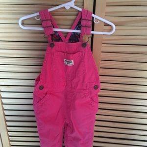 EucBright pink corduroy Oshkosh dungarees